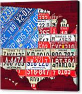 American Flag Map Of The United States In Vintage License Plates Canvas Print