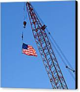 American Flag On Construction Crane Canvas Print by Olivier Le Queinec