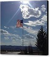 American Flag Waving In The Sunrays Canvas Print by Shawn Hughes