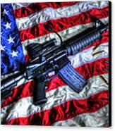 American Flag With Rifle Canvas Print by Geoffrey Coelho