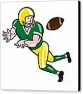 American Football Wide Receiver Catch Ball Cartoon Canvas Print by Aloysius Patrimonio