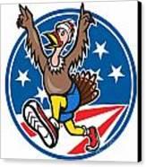 American Turkey Run Runner Cartoon Canvas Print