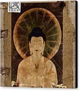 Amida Buddha Postcard Collage Canvas Print