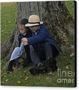 Amish Kids Canvas Print by R A W M
