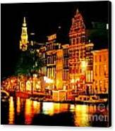 Amsterdam At Night Four Canvas Print