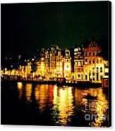 Amsterdam At Night Three Canvas Print by John Malone