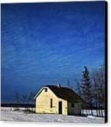 An Abandoned Homestead On A Snow Canvas Print