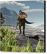 An Acrocanthosaurus Roams An Early Canvas Print by Arthur Dorety