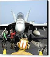 An Aircraft Director Signals Canvas Print by Stocktrek Images
