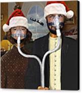 An American Gothic Sleep Apnea Merry Christmas Canvas Print by Mike McGlothlen
