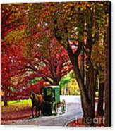 An Amish Autumn Ride Canvas Print by Lianne Schneider