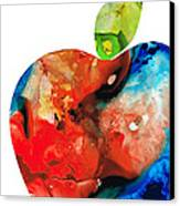An Apple A Day - Colorful Fruit Art By Sharon Cummings  Canvas Print by Sharon Cummings