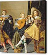 An Elegant Company Playing Music In An Canvas Print by Dirck Hals