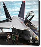 An Fa-18f Super Hornet Sits Canvas Print by Stocktrek Images