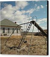 An Old School Near Miles City Montana Canvas Print by Jeff Swan