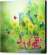 Angel With Butterflies And Sunflowers Canvas Print