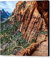 Angels Landing Trail From High Above Zion Canyon Floor Canvas Print by Gary Whitton