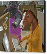 Animal Office Canvas Print