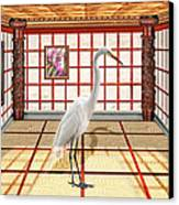 Animal - The Egret Canvas Print by Mike Savad