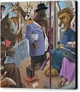 Animals On A Tube Train Subway Commute To Work Canvas Print
