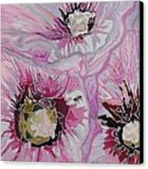 Ant Exploring Hollyhock Canvas Print by Jo Anne Neely Gomez