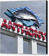 Anthonys Trout Sign Canvas Print by Daniel Hagerman