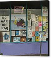 Anti-iraq War Posters 4th Avenue Book Store Window Tucson Arizona 2000 Canvas Print
