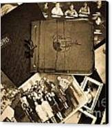 Antique Autograph And Photo Albums And Photos Canvas Print by Amy Cicconi