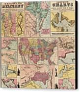 Antique Civil War Map By Egbert L. Viele - Circa 1861 Canvas Print by Blue Monocle