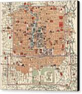 Antique Map Of Beijing China - 1914 Canvas Print