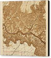Antique Map Of Grand Canyon National Park - Usgs Topographic Map - 1903 Canvas Print