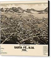 Antique Map Of Santa Fe New Mexico By H. Wellge - 1882 Canvas Print by Blue Monocle