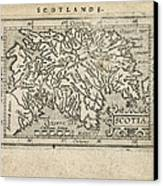 Antique Map Of Scotland By Abraham Ortelius - 1603 Canvas Print by Blue Monocle