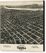 Antique Map Of Tulsa Oklahoma By Fowler And Kelly - 1918 Canvas Print