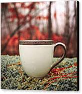Antique Teacup In The Woods Canvas Print by Edward Fielding