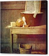 Antique Wash Tub With Soaps Canvas Print by Sandra Cunningham