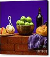 Apples Bread And Cheese Canvas Print
