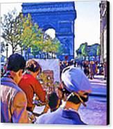 Arc De Triomphe Painter Canvas Print