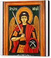 Archangel Michael Hand-painted Wooden Holy Icon Orthodox Iconography Icons Ikons Canvas Print by Denise Clemenco