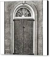 Arched Door In French Quarter In Black And White Canvas Print by Brenda Bryant