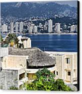 Architecture With Ith Acapulco Skyline Canvas Print by Linda Phelps
