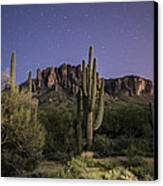 Arizona Superstition Mountains Night Canvas Print by Michael J Bauer