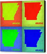 Arkansas Pop Art Map 1 Canvas Print by Naxart Studio