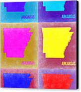 Arkansas Pop Art Map 2 Canvas Print by Naxart Studio