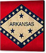 Arkansas State Flag Art On Worn Canvas Canvas Print by Design Turnpike