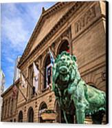 Art Institute Of Chicago Lion Statue Canvas Print by Paul Velgos
