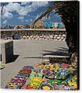 Artwork At Street Market In Curacao Canvas Print by Amy Cicconi