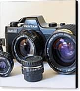 Asahi Pentax Auto 110 Mini Camera And Lenses Canvas Print by Melany Sarafis