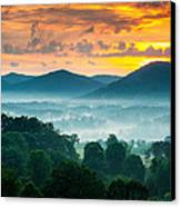 Asheville Nc Blue Ridge Mountains Sunset - Welcome To Asheville Canvas Print by Dave Allen