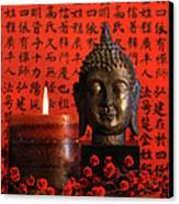 Asian Candle With Red Orential Background Canvas Print by Sandra Cunningham